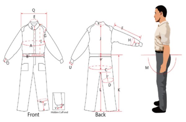 STR Racesuit Size Diagram