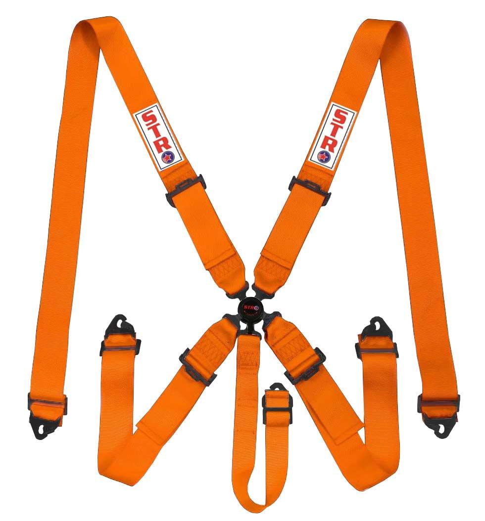 STR 5-Point Aircraft Buckle Harness - Orange
