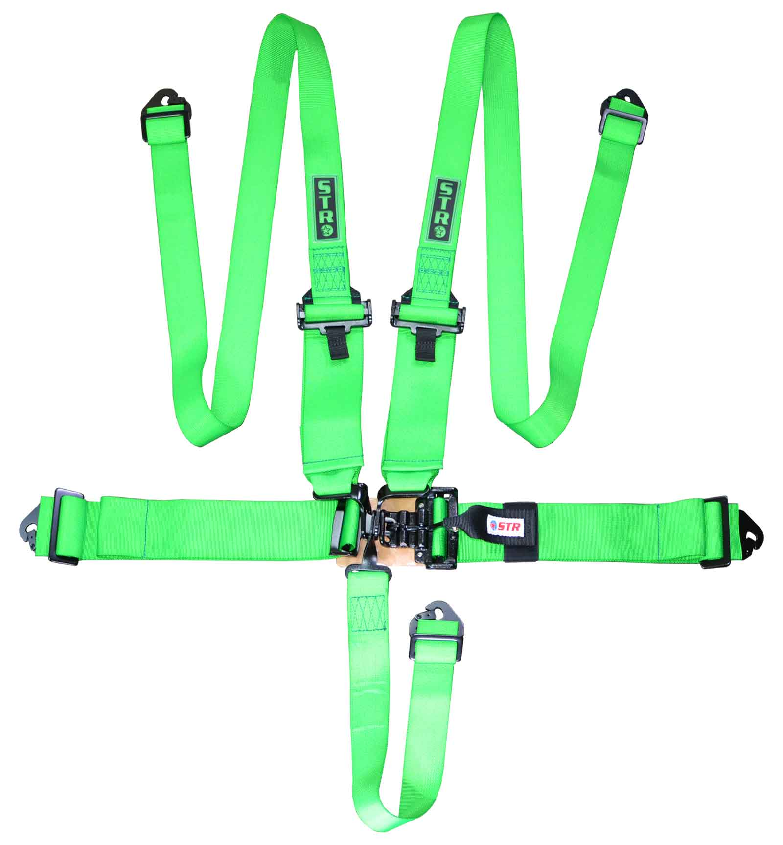 "STR 5-Point 3"" to 2"" NASCAR Latch Race Harness - Green"
