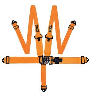 """STR 5-Point 3"""" to 2"""" NASCAR Latch Race Harness - Orange"""