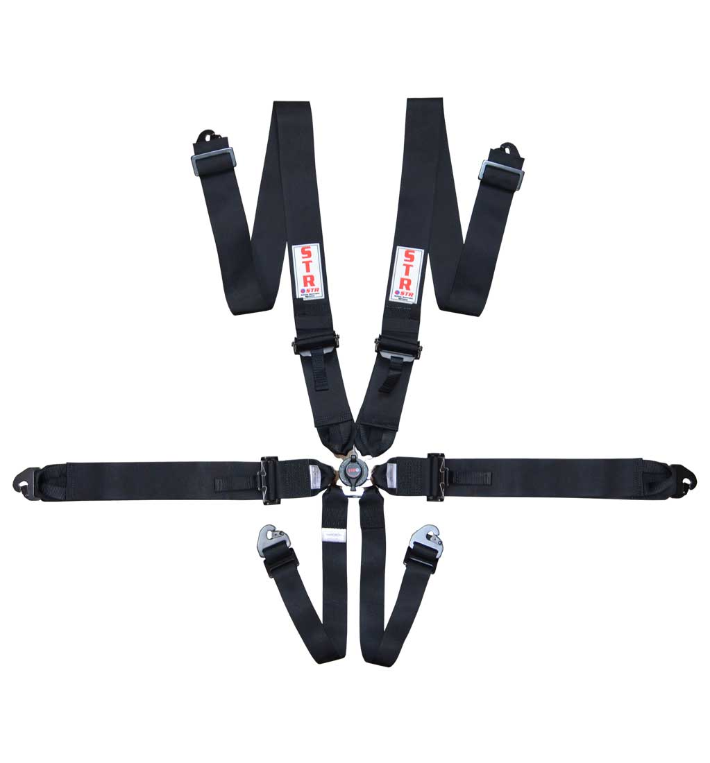 "6-Point Race Harness 3"" Pull Down (2025) - Black"