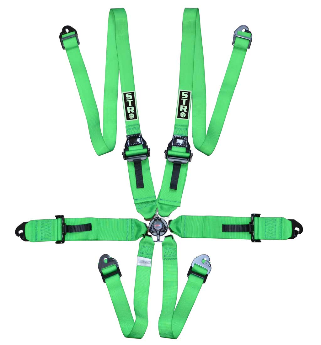 "6-Point FHR Harness, 3"" to 2"" Straps (2025) - Green"