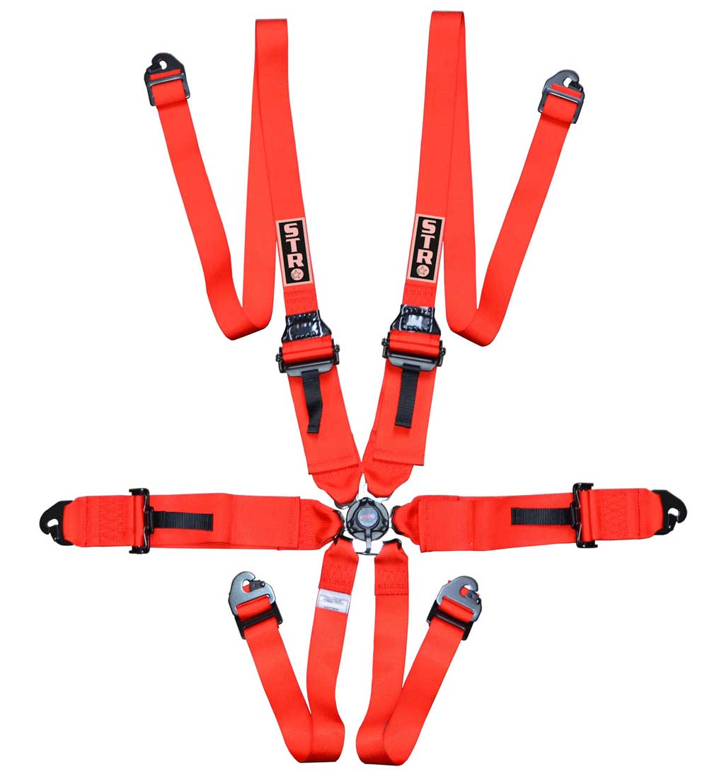 """6-Point FHR Harness, 3"""" to 2"""" Straps (2025) - Red"""