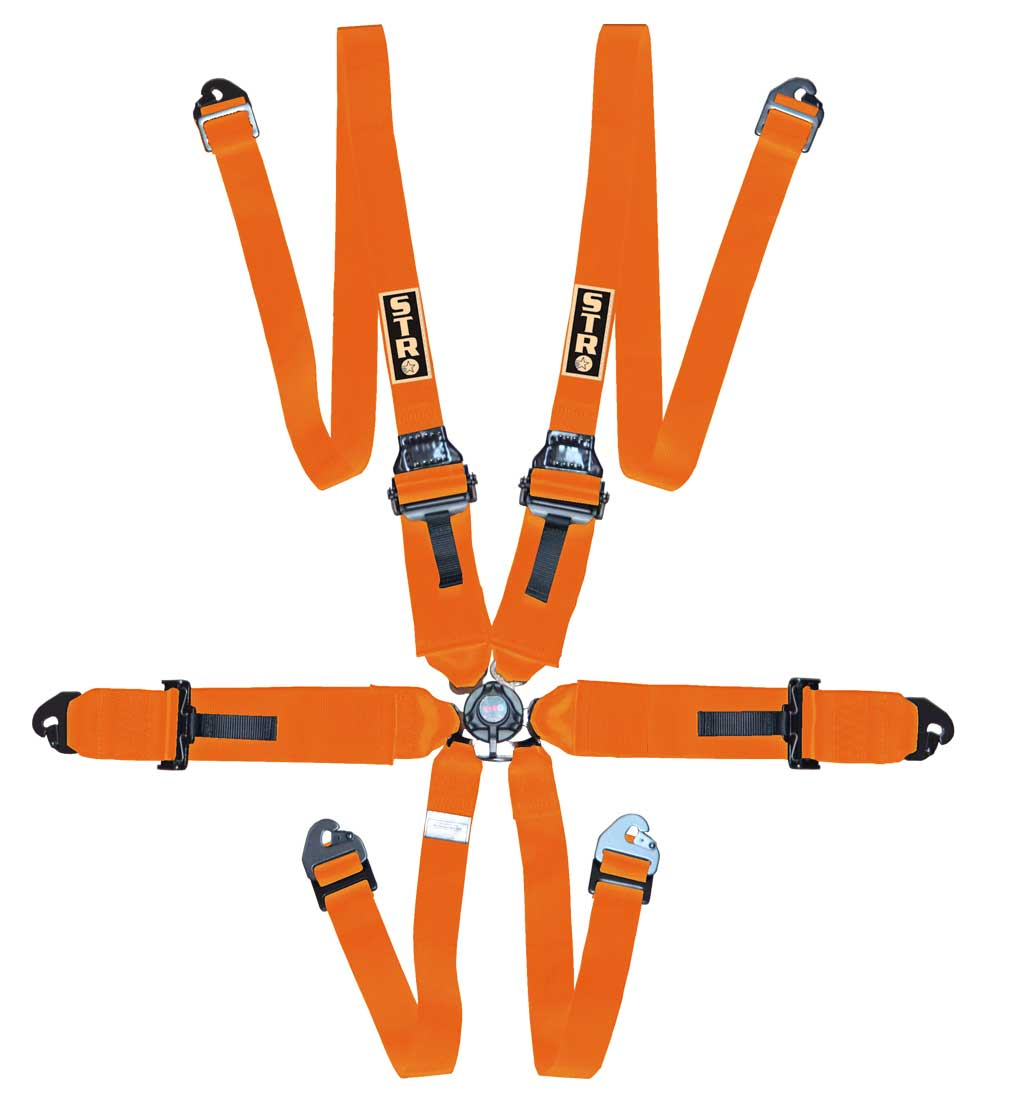 """6-Point FHR Harness, 3"""" to 2"""" Straps (2025) - Orange"""