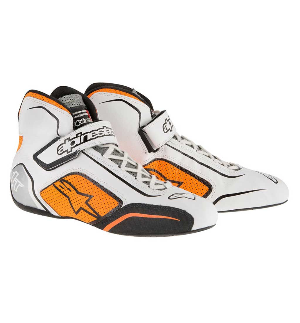 Alpinestars Tech 1-T Boots - White/Orange Fluo
