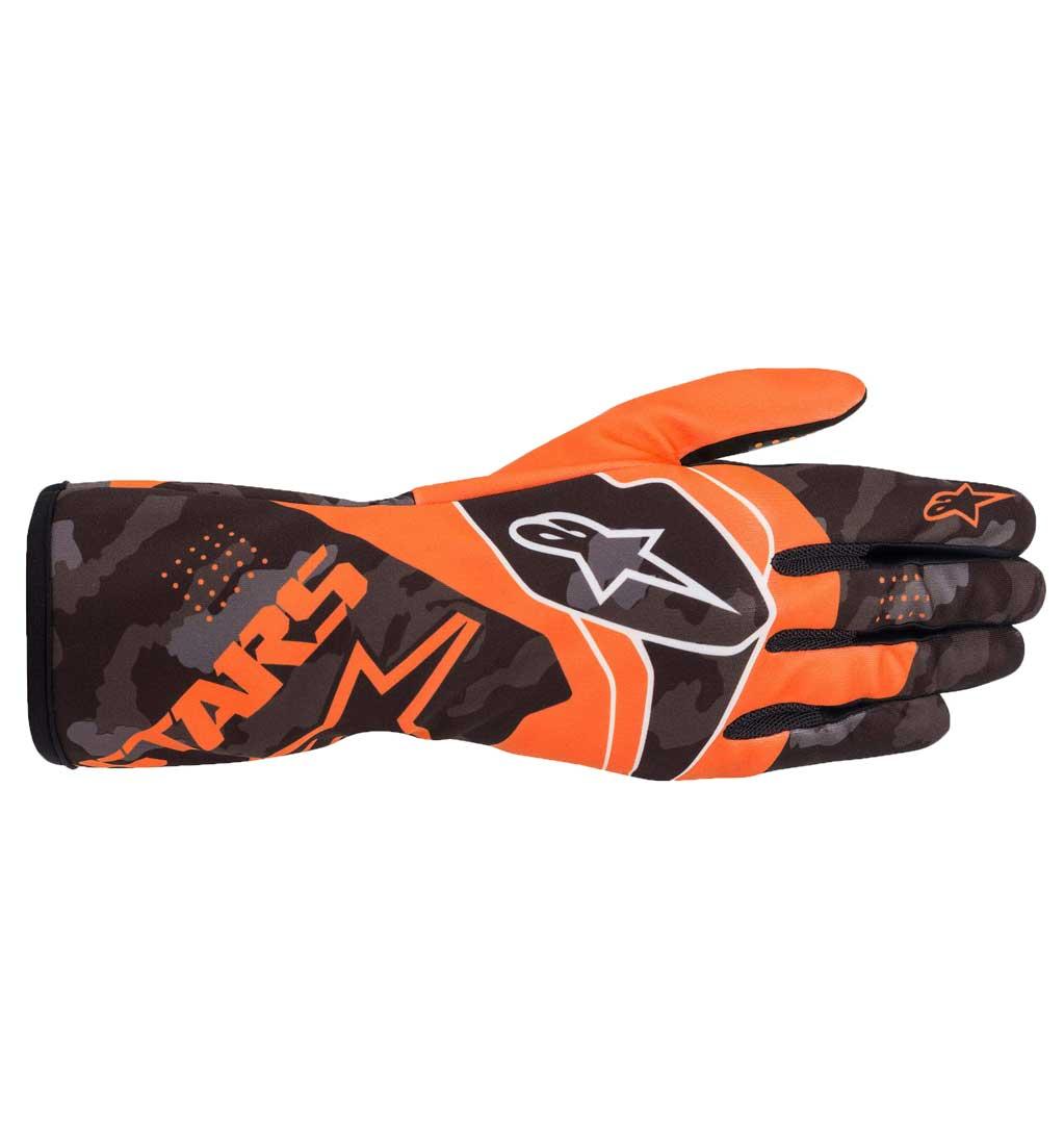Alpinestars Tech-1 K Race V2 Camo Gloves - Orange Flu/Black