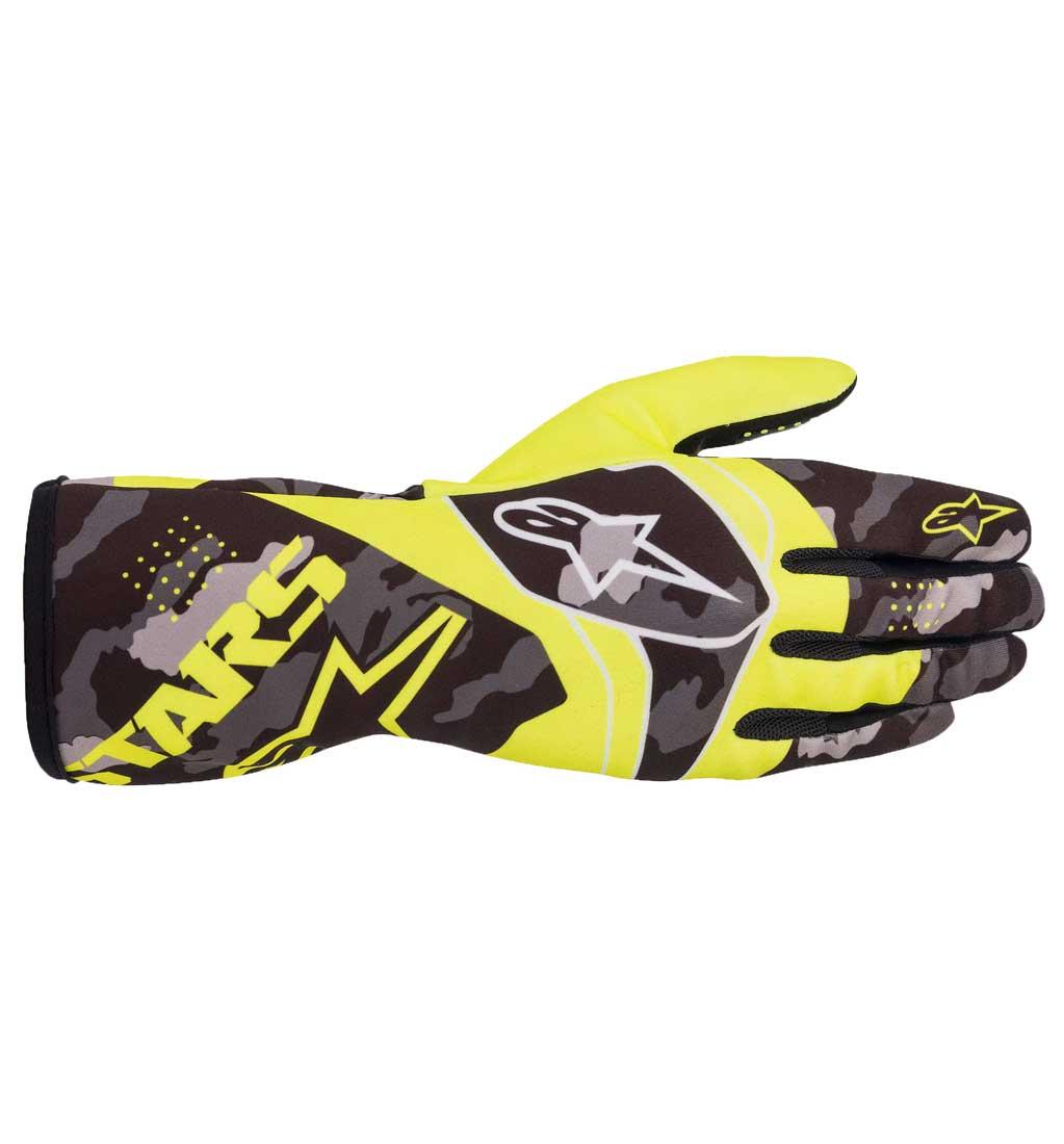Alpinestars Tech-1 K Race V2 Camo Gloves - Yellow Fluo/Black