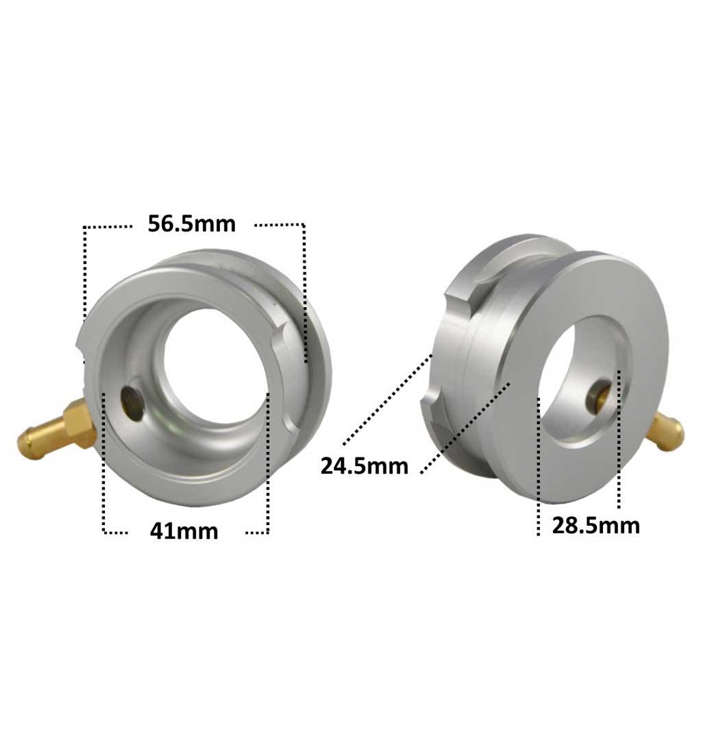 Aluminium Weld-On Radiator Filler Neck + Brass Overflow Spout