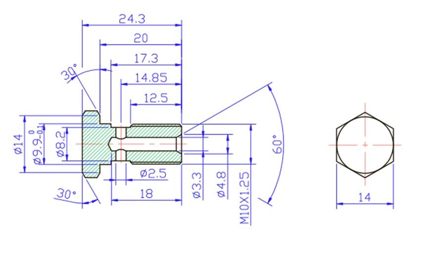 M10x1.25mm Banjo Bolt - Zinc Plated