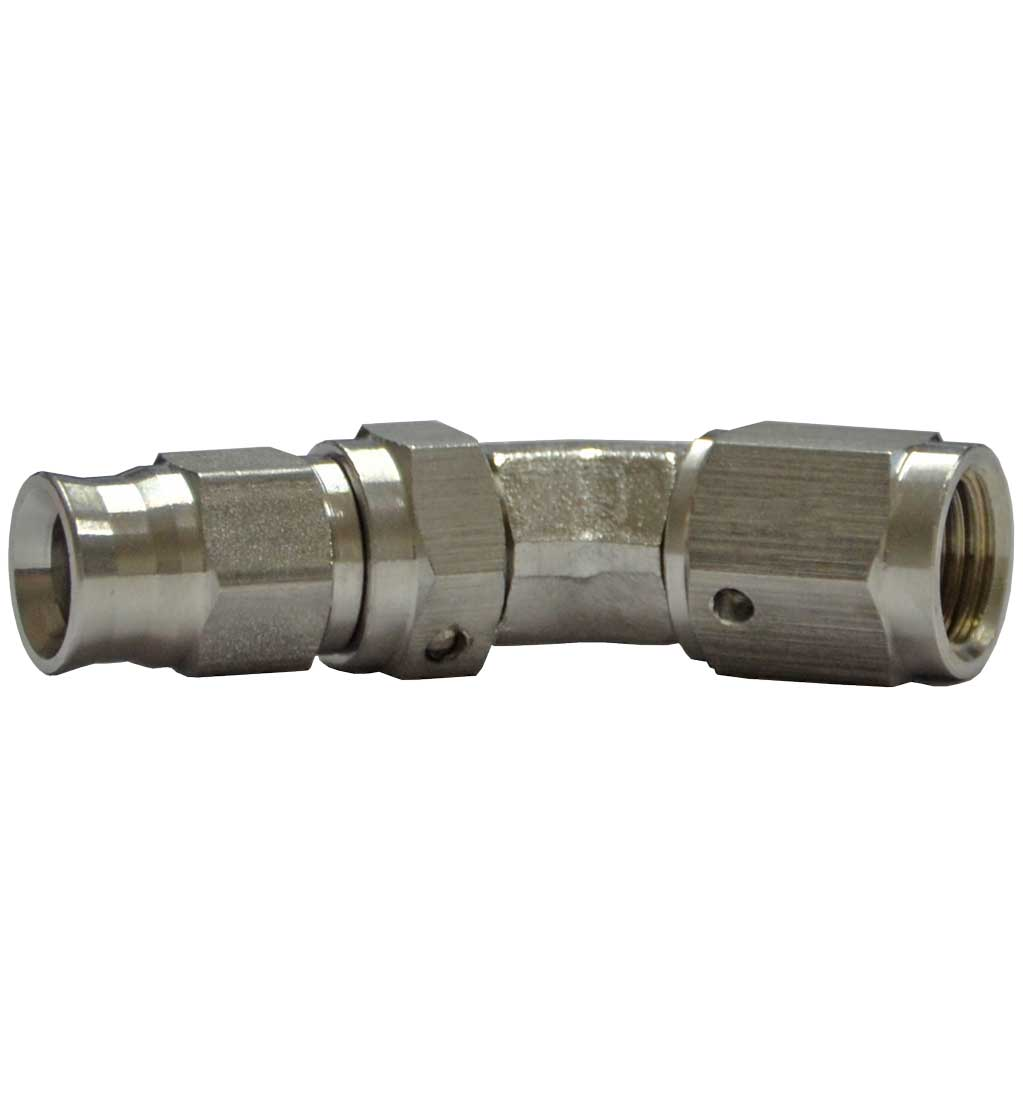 """3/8"""" UNF 45 Degree Female for AN-3 (3/16"""") - Stainless Steel"""