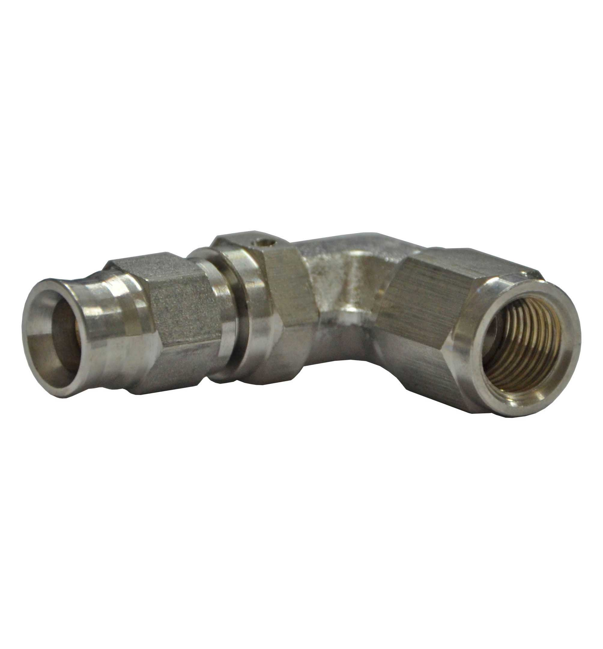 "3/8"" UNF 90 Degree Female for AN-3 (3/16"") - Stainless Steel"