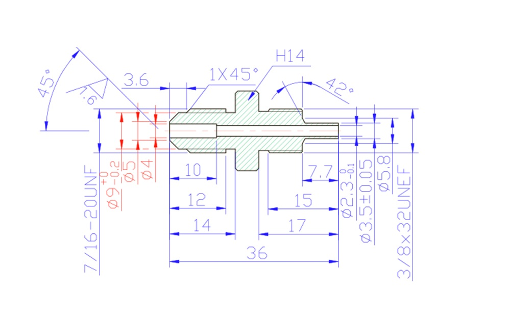 """7/16"""" UNF Male Convex Fitting for AN-3 (3/16"""") - Stainless Steel"""