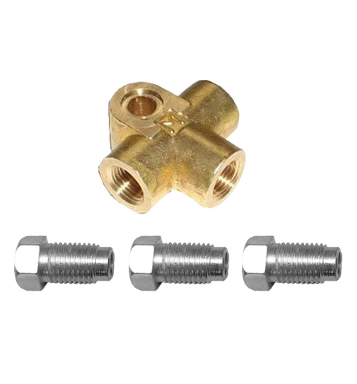 """3/8"""" UNF Brass T-Piece with Brake Nuts"""