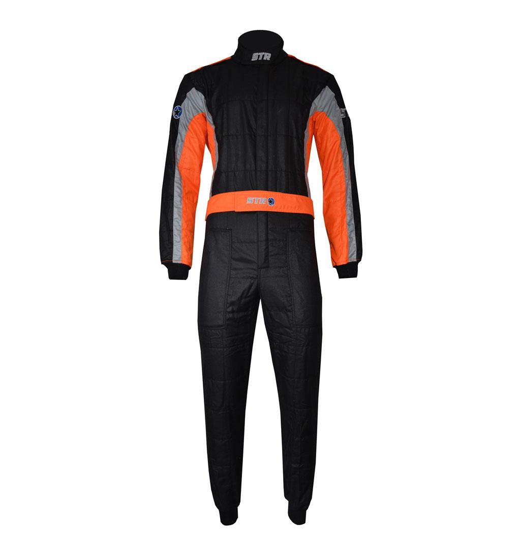 STR 'Club' Race Suit - Black/Grey/Orange Fluo