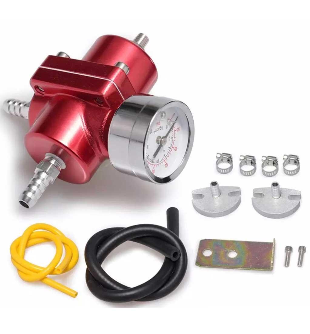 Fuel Pressure Regulator with Gas Hose Kit - 0-140 PSI