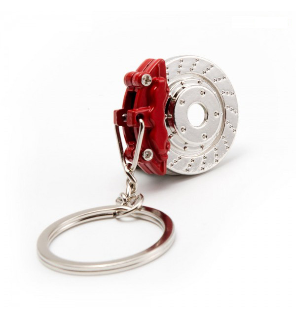 Brake Disc & Caliper Keyring in Red