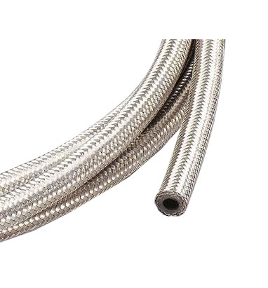 "Stainless Steel Braided Fuel Hose - 10mm (3/8"") ID"