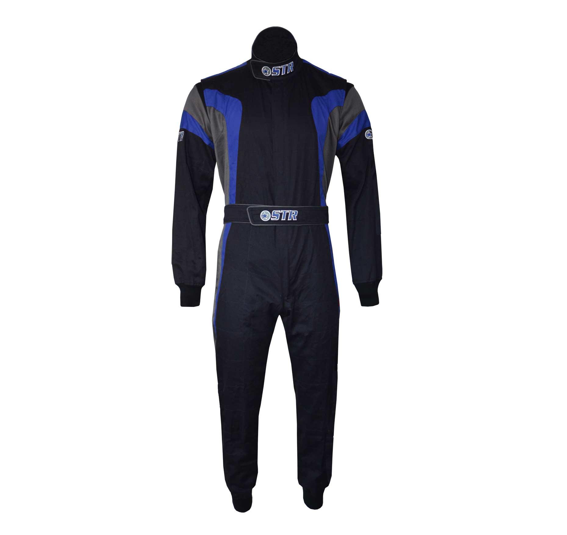 STR 'Podium' Race Suit - Black/Blue/Grey