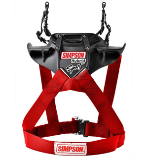 Simpson Hybrid Sport QR Head & Neck Restraint - Red