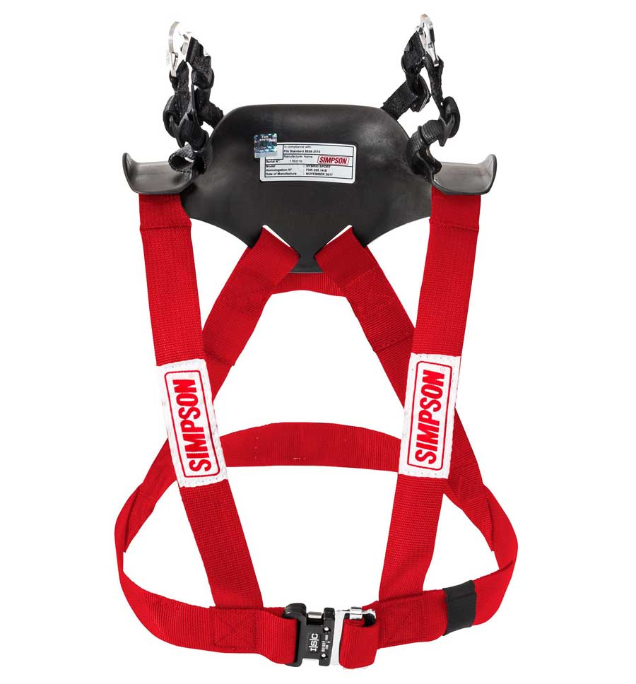 Simpson Hybrid Sport Head & Neck Restraint - Red