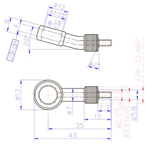 """3/8"""" 20 Degree Banjo Fitting for AN-3 (3/16"""") - Stainless Steel"""