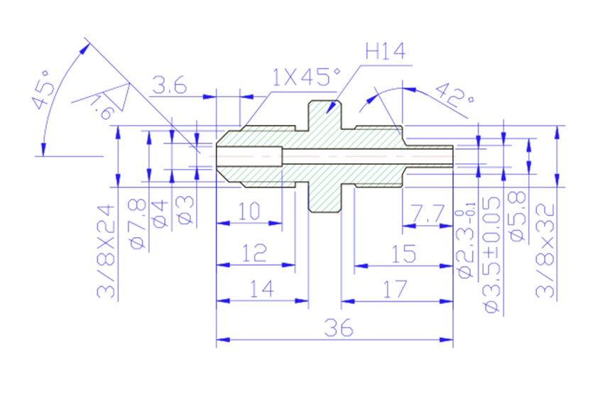 """3/8"""" UNF Male Convex Fittings for AN-3 (3/16"""")- Stainless Steel"""