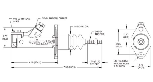 """Wilwood Brake/Clutch Master Cylinder - 0.750"""" (19 mm)"""