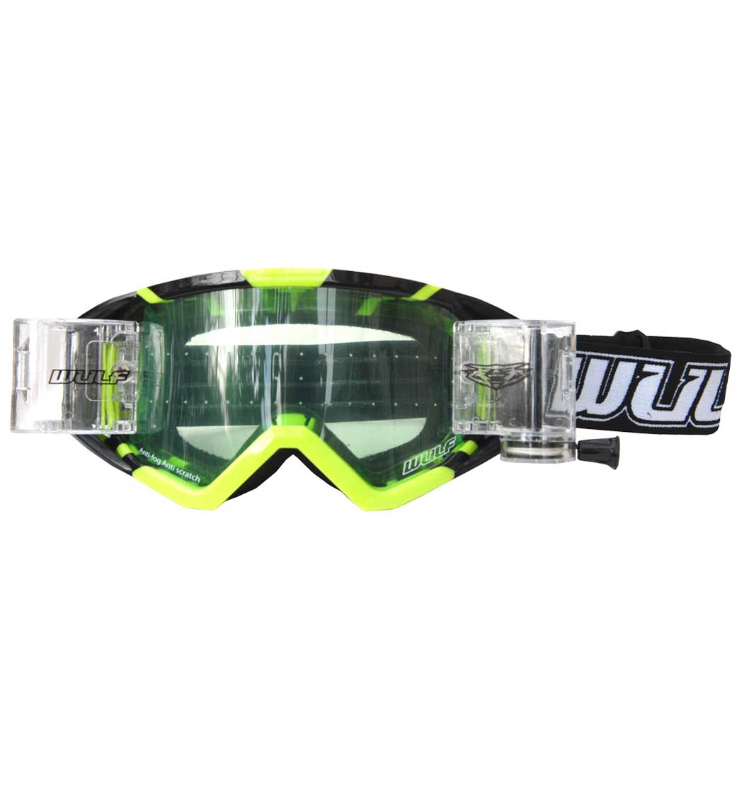 Wulfsport New Wide Vision Racer Pack - Tear Offs - Yellow Fluo